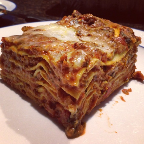 The glorious inside view of the lasagna